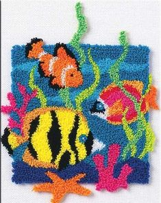 Shop for Punch Needle Kits at Weekend Kits. Our punch needle embroidery kits come in an assortment of colorful patterns, from traditional to modern. You'll find a wide variety of easy and beginner punch needle craft kits. Punch Needle Kits, Punch Needle Patterns, Fish Patterns, Embroidery Stitches, Embroidery Patterns, Hand Embroidery, Latch Hook Rugs, Rug Hooking Patterns, Art Textile