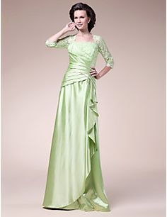 A-line Square Floor-length Stretch Satin Mother of the Bride... – USD $ 89.99