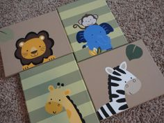 NEW Set of 4 Hand Painted Canvas Tiddliwinks by WallApproved