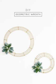 Simple DIY Geometric Wreath from Sugar & Cloth.  Find wreath forms, lambs ear and gold paint at Afloral.com and make your own modern holiday wreaths or wedding backdrop.   http://bit.ly/1NabZV2