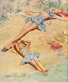 Too cute! (Bates Fabrics ad, 1946.) #vintage #1940s #swimsuits #summer #fashion