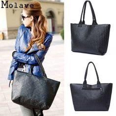 2017 New Fashion Design Women Pu Leather Weave Handbag Female Portable large Shopping Totes Ladies Elegant Shoulder Bag Mar2 #Affiliate