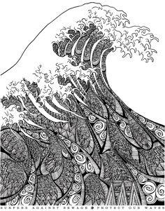 "artchipel: "" Freddie Denton on Tumblr - T-shirt artwork for non-profit organization Surfers Against Sewage Based on Hokusai's famous ""Great Wave of Kanagawa"" """
