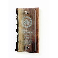 Canopy Award by featured in Canada's National Zerowaste Design Portfolio! Wooden Award, Acrylic Trophy, Award Plaques, Plaque Design, Trophy Design, Salvaged Wood, Custom Wood, Design Awards, Portfolio Design