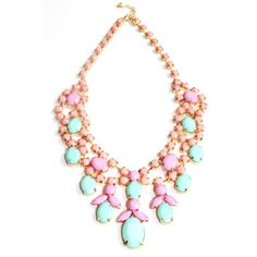 Pastel 10k Gold Plated Statement Necklace