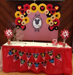Mickey Mouse birthday ideas backdrop photo booth photo shoot Paper Rosettes Paper Fans DIY https://www.etsy.com/listing/267842215/paper-rosettes-mickey-mouse-birthday