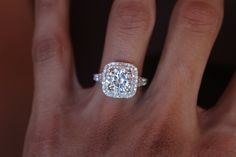 2.50 Carat (8.5mm) Forever ONE Moissanite Engagement Ring 14k White Gold, 2 ct Moissanite Rings for Women Diamond Engagement Ring, Diamond Halo & Forever ONE Moissanite - Raven Fine Jewelers, Michael Raven Jewelry