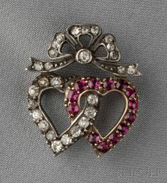 Antique Ruby and Diamond Heart Brooch,
