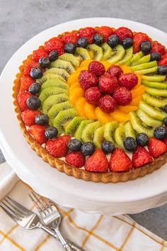 An image of a tart made with mixed fruit in concentric circles, made with a French fruit tart recipe.