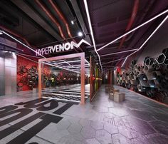 Retail design project of the Conceptual soccer sportswear Store for the Nike Hypervenom brand. Designed without the request, specially to demonstrate the vision o the ultimate design vision