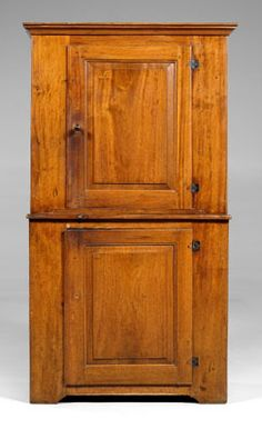 North Carolina Chippendale cupboard,  walnut wall cupboard with yellow pine secondary, two paneled doors opening to shelved interior, original butt hinges, attributed to North Carolina, late 18th/early 19th century, 72-1/2 x 39 x 19 in.Literature: George Neumann, Early American Antique Country Furnishings: Northeastern America 1650-1800, American Legacy Press, 1984.