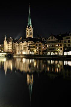Zurich, Switzerland by Király Sébastien Night Lights, City Lights, Places To Travel, Places To See, Travel Around The World, Around The Worlds, Visit Switzerland, City Scene, Zurich