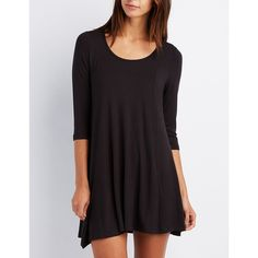 Charlotte Russe Scoop Neck Trapeze Shift Dress ($15) ❤ liked on Polyvore featuring dresses, black, swing dress, charlotte russe, 3 4 length sleeve dress, charlotte russe dresses and flare dress