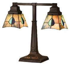 """Mackintosh Leaf Mission 19.5"""" H Table Lamp with Square Shade"""