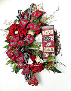 Valentine Wreath - Valentine Animal Print - Valentine Decor - Valentine Day Wreath - Valentine Gift - Love Wreath - Love Decor by TheNakedDoorLLC on Etsy