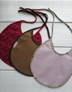 baby linen double sided bibs with embroidery