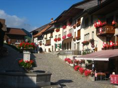 Central square in the fortified village of Gruyères, Switzerland