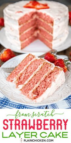 Homemade Strawberry Layer Cake with Strawberry Cream Cheese Frosting Recipe - hands down the best st Strawberry Cake From Scratch, Strawberry Layer Cakes, Homemade Strawberry Cake, Strawberry Jello, Strawberry Cake Recipes, Strawberry Birthday Cake, Homemade Desserts, Mini Desserts, Homemade Cakes