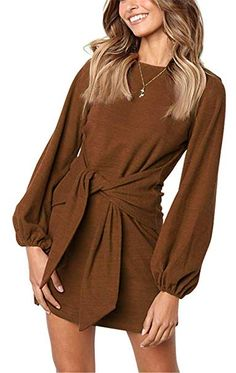 MIDOSOO Womens Loose Casual Front Tie Long Sleeve Bandage Party Dress  Chocolate L Color Shorts c840c8614
