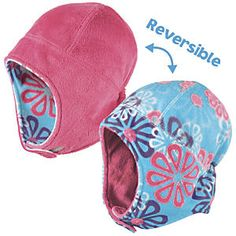 Girls Cozy Cub Polar Fleece Reversible Hat: Designed by OSA!  One hat that works like two! Our reversible winter hat gives you double the dressing options. One side is cozy polar fleece. The other is ultra-soft minky fleece. Either way she wears it, it provides warm, stay-put coverage! With built-in ear flaps and adjustable hook 'n loop chin strap for easy, cold-weather dressing...