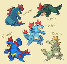 << Typhlosion || Totodile || Croconaw >> And...more Subspecies! This time with the Johto water starter Totodile. I plan to do subspecies of each pokemon in the Johto pokedex s...