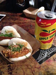 Pork buns, apple sidra, and good music. Thank you, Eddie Huang.