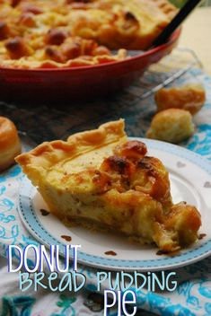 Donut Bread Pudding Pie. A soft and sweet bread pudding, baked pie-style and made with donuts for a fun twist! #thanksgiving #dessert #christmas