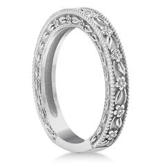 Carved Floral Designed Wedding Band 14k White Gold by GNGJewel;338;yellow gold