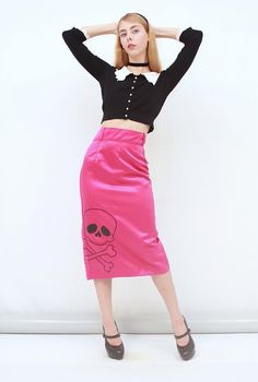 RARE DEADLY DAMES KISS ME DEADLY Pink Skull Satin Pinup Pencil Wiggle SKIRT 12 M