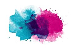 Large canvas artwork with blue and pink paint splatters. Soft and Cool - Marmont Hill