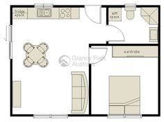 For Oahu… 1 Bedroom Granny Flat Archives – Granny Flats Australia ~ Great pin! For Oahu architectural design visit ownerbuiltdesign. Granny Pod, Small Basement Design, Small House Design, Basement Ideas, Small House Plans, House Floor Plans, Granny Flats Australia, Oahu, Granny Flat Plans