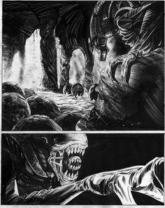 Alien - a sample page in b&w