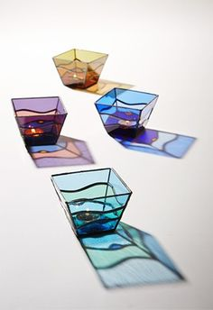The beautiful stained glass candle holder.