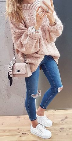 what to wear with a pink sweater : bag + rips + sneakers