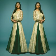 Featuring a beige raw silk floor length kurta with green flower pot print and fully embroidered sleeves and has high slit in front.  Title : Printed long choli with embroidered long sleeves. Size : Free Color : Beige Green Fabric : Raw Silk Type : Printed Embroidered Occasion: Festive Wedding Neck Type: Round Neck Sleeve Type: Long Sleeves  Sale Price : 3300 INR Only ! #Booknow  CASH ON DELIVERY Available In India !  World Wide Shipping !   For orders / enquiry  WhatsApp @ 91-9054562754…