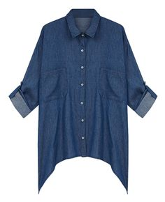 Asymmetric Colorblock Md-long Loose Denim Shirt