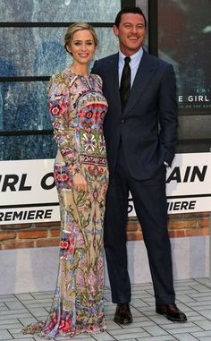 """Emily Blunt wowed in floral Alexander McQueen with co-star Luke Evans at """"The Girl on the Train"""" premiere."""