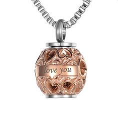 VALYRIA Memorial Hollow Diamond Beads Always in my heart Urn Pendant with Personalized EngravingRose Gold Plated >>> You can find more details by visiting the image link. This Amazon pins is an affiliate link to Amazon.