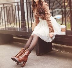 Tule skirt, sheer tights, and leather boots Girly Outfits, Urban Outfits, Cute Outfits, Dress Outfits, Fall Outfits, Dresses, Chanel, Classy And Fabulous, Stay Classy