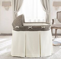 Heirloom Wicker Bassinet & Mattress | Moses Basket & Bassinet Bedding | Restoration Hardware Baby & Child