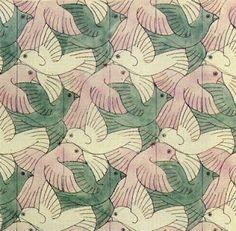 ESCHER bird pattern : un modèle visuel de ce qu'est un paradigme et une application réelle du principe de psychologie de la forme -  gestalt (on ne peut pas voir tous les oiseaux à la fois)