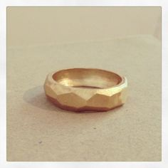 14k gold ring, faceted  can be a wedding ring, for men and woman  width of ring is 7 mm    each ring will be made with order according to size so