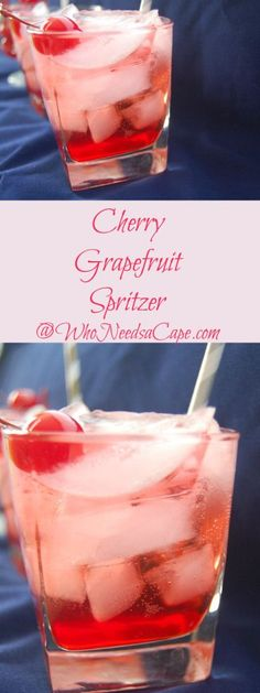 Cherry Grapefruit Spritzer a lovely cocktail with just the perfect amount of sweet & sour!