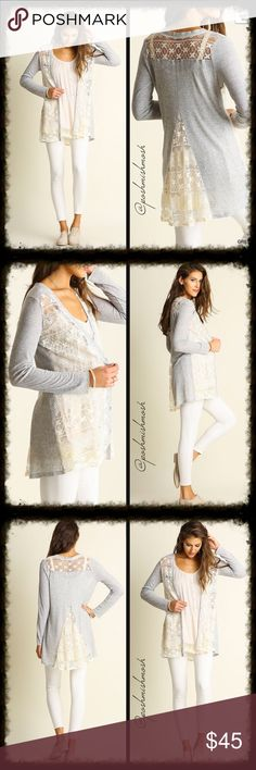 """Coming Soon Grey Lace Cardigan Lace Cardigan  *HEIGHT OF MODEL: 5'11"""" / SIZE: SMALL Sweaters Cardigans"""