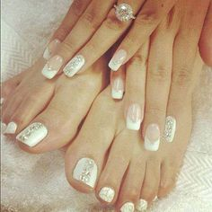 Not my style but classy for wedding. Show Vivian #nails #nailart #glamour #glamournails #popular #beauty #fashion