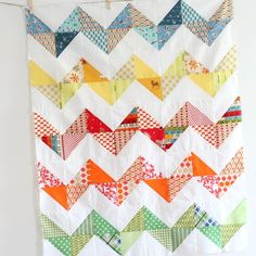 Zig zag quilt!  Made with half-square triangles.