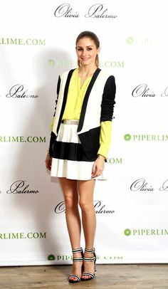 Olivia Palermo at Piperlime Soho Store, New York - 29 May 2013. black white and yellow