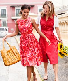 Take a stroll on easy street, thanks to everyday-wearable dresses in classic cuts and traffic-stopping hues. This ladylike, sleeveless stunner, left, swirls with fool-the-eye florals, while a sizzling shade of salsa, right, heats up a weightless faux-wrap style.  From left: Red floral dress, $39, Newport News; newport-news.com. Basket Weave Hobo, $22.80, and Irada Gladiator sandals, $18.80, Forever 21; forever21.com. White cardigan, $32.50, Shade Clothing; shadeclothing.com. Faux-Wrap…