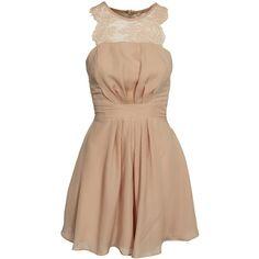 Elise Ryan Chiffon Skater Dress (4,865 INR) ❤ liked on Polyvore featuring dresses, nude, party dresses, womens-fashion, nude dress, skater skirt dress, beige chiffon dress, beige cocktail dress and sleeveless skater dress