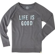 Life is good Womens Go-To Long Crew - XS - Slate Gray - Shirts ($38) ❤ liked on Polyvore featuring tops, grey, crewneck shirts, life is good shirts, long length shirts, gray top and crew top